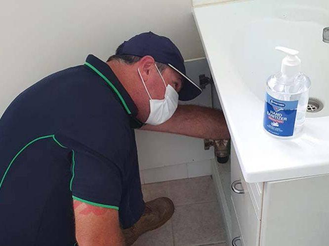 repair leaking tap on vanity buderim plumber
